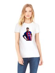Футболка с принтом Лионель Месси (Lionel Messi) белая w005
