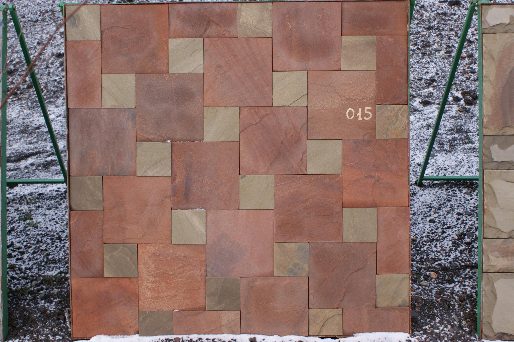 Набор плитки песчаник пиленный Квадраты на стенде