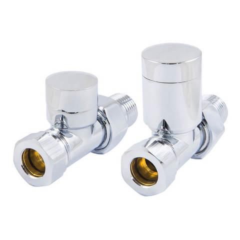 Комплект клапанов с ручной регулировкой Форма Прямая, Хром. Для меди GZ 1/2 х 15х1