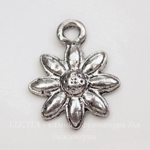 """Подвеска """"Цветочек"""" 18х14 мм (цвет - античное серебро)"""