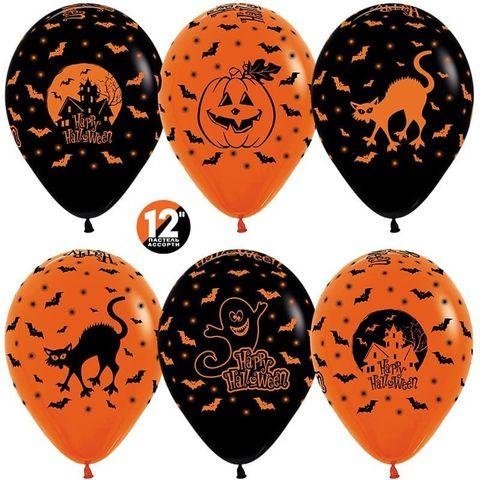 Шар (12''/30 см) Хэллоуин, Оранжевый (061)/Черный (080), пастель, 5 ст.
