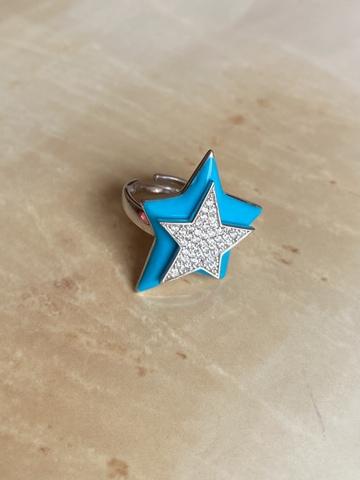 Кольцо Звезда голубое, серебро