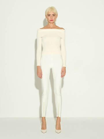 Женские брюки молочного цвета из 100% шелка - фото 2