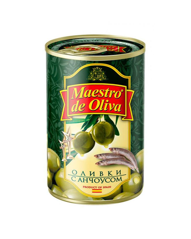 Оливки Maestro de Oliva с анчоусом 300 гр.