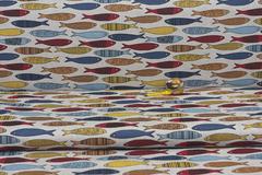 Льняная интерьерная ткань принт  РЫБКИ