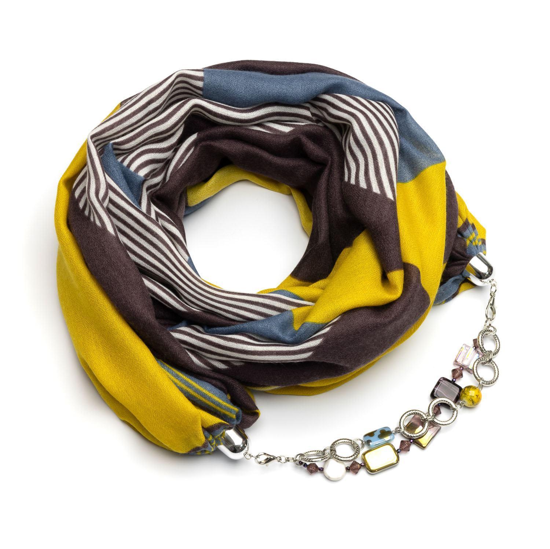Кашемировый шарф желто коричневый