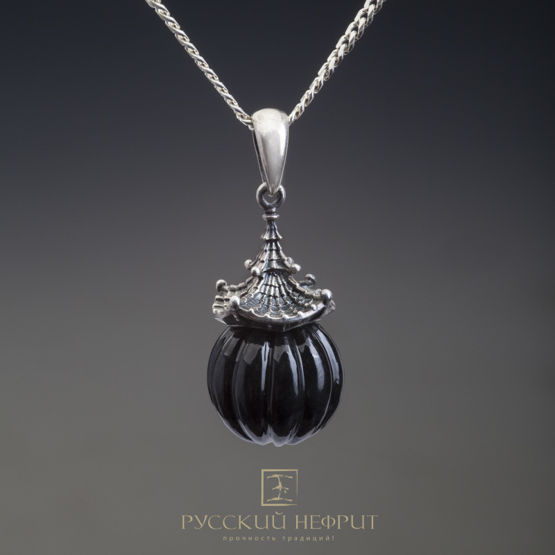 "Кулоны Кулон ""Доугун"". Чёрный нефрит (класс модэ), серебро 925 (3,5г.). Доугун_черный.jpg"