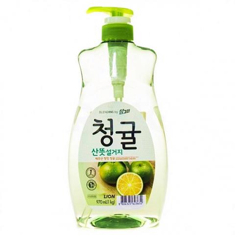 Средство для мытья посуды, овощей и фруктов Lion Chamgreen Зеленый цитрус 970 мл с помпой-дозатором
