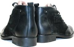Зимние кожаные ботинки мужские черные Luciano Bellini 6057-58K Black Leathers & Nubuk.