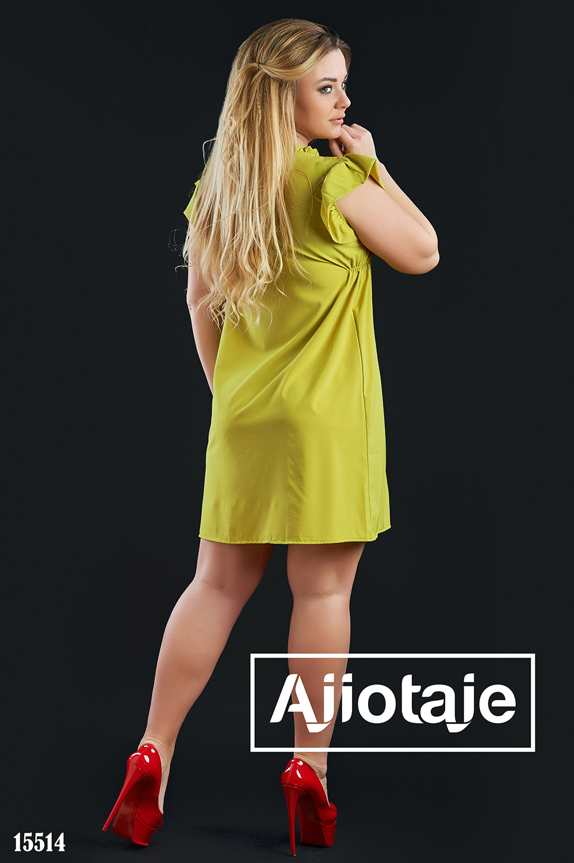 Платье горчичного цвета с рукавом-крылышко