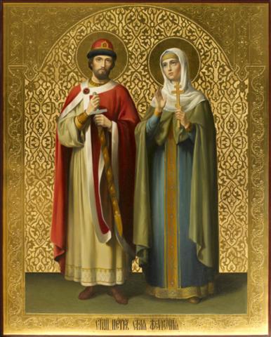 Икона святые Петр и Феврония Муромские на дереве на левкасе мастерская Иконный Дом