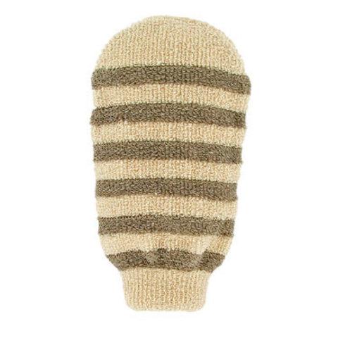 Массажная полосатая мочалка-варежка из органического хлопка и органического льна Forster's