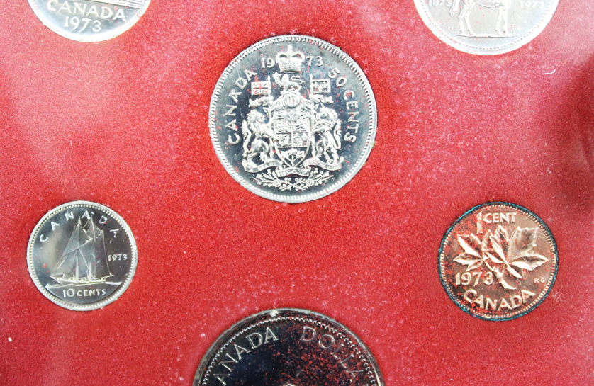 Набор монет Канады 1973 год, в кожаном футляре (Серебро, никель, бронза). PROOF
