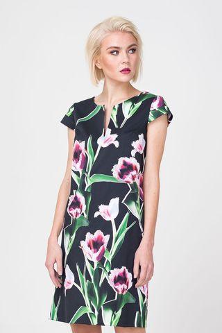 Фото прямое хлопковое платье с трендовым цветочным принтом - Платье З371-533 (1)