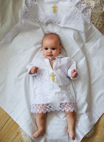 Папитто. Крестильный набор для мальчика (рубашка крестильная, пеленка), белый, рост 56-62