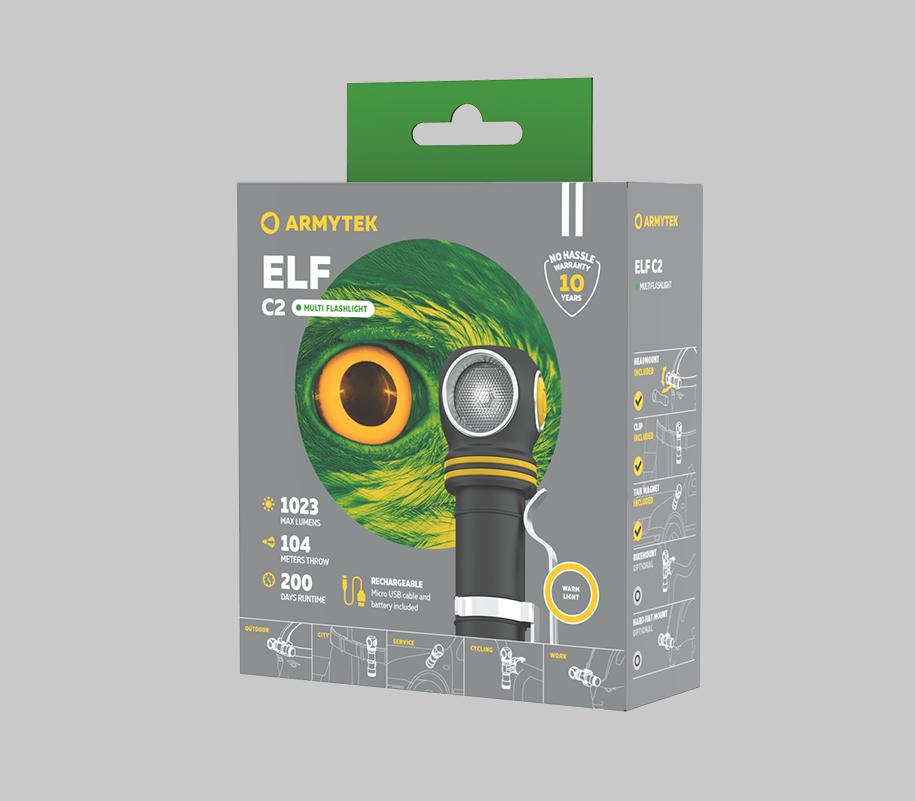 Мультифонарь Armytek Elf C2 Micro USB (теплый свет) - фото 6