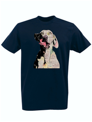 Футболка с принтом Собака (Dog) темно-синяя 008