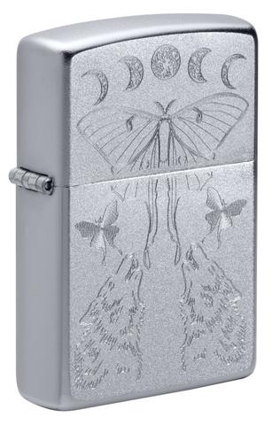 Зажигалка Zippo Butterfly and Wolf с покрытием Satin Chrome, латунь/сталь, серебристая