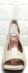 Стильные босоножки с квадратным мысом женские Brocoli H150-9137-2234 Cream.