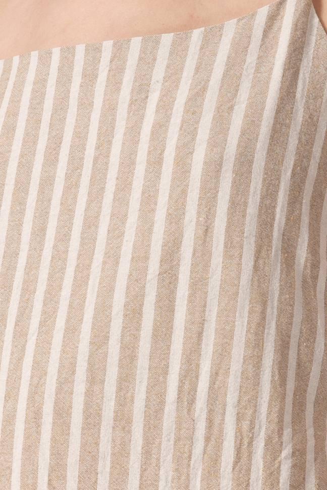 Сарафан на пуговицах с поясом, бежевый в полоску