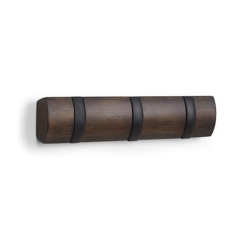 Вешалка настенная FLIP 3 крючка чёрная-орех