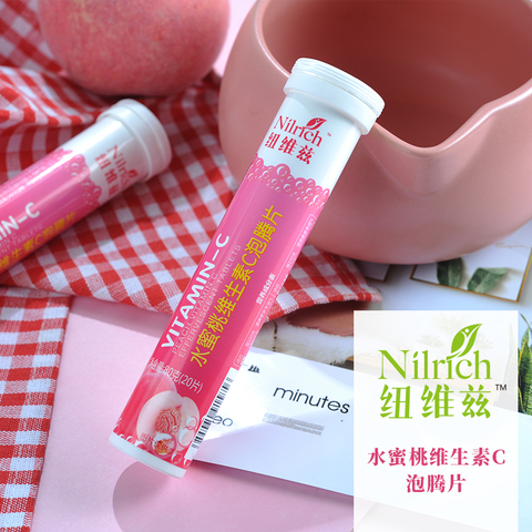 Шипучие таблетки витамина С со вкусом персика NILRICH 80 г