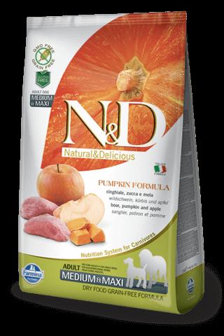 купить Farmina N&D Pumpkin Boar & Apple Adult Medium & Maxi сухой беззерновой корм для взрослых собак средних и крупных пород кабан яблоко тыква