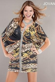 Jovani 1574 Платье короткое, лиф с запахом состоит из присборенной ткани, которая образует широкие рукава три четверти