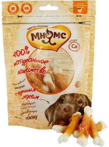 МНЯМС Лакомство для собак кальцинированные косточки с куриным мясом