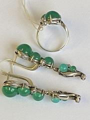 Бруже  (кольцо + серьги из серебра)