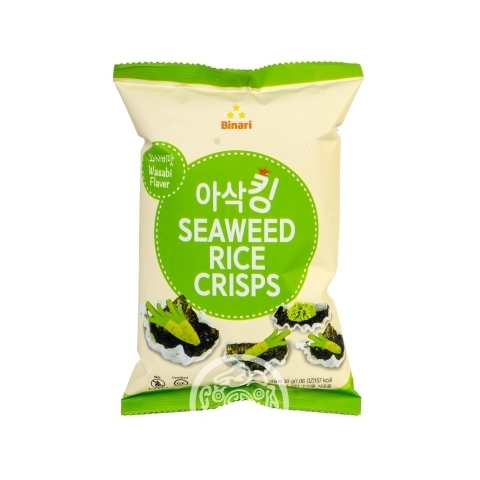 Чипсы рисовые с морской капустой со вкусом васаби 30гр Humanwell Корея