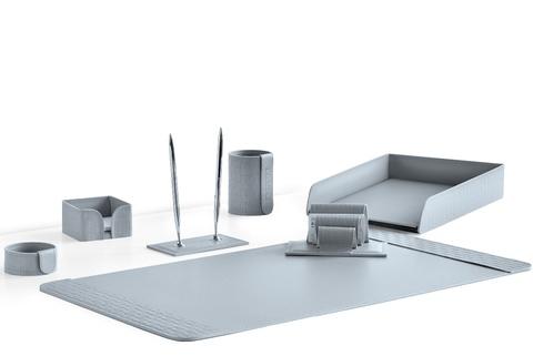 Настольный набор 7 предметов из кожи Treccia/серый