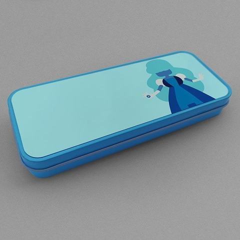 Голубой металлический пенал