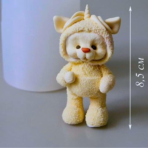 3D МИШКА - ЕДИНОРОГ силиконовый молд (85х45мм)