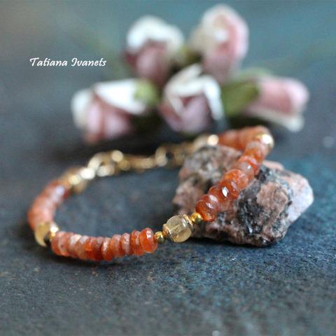 Тонкий браслет из солнечного камня и цитрина