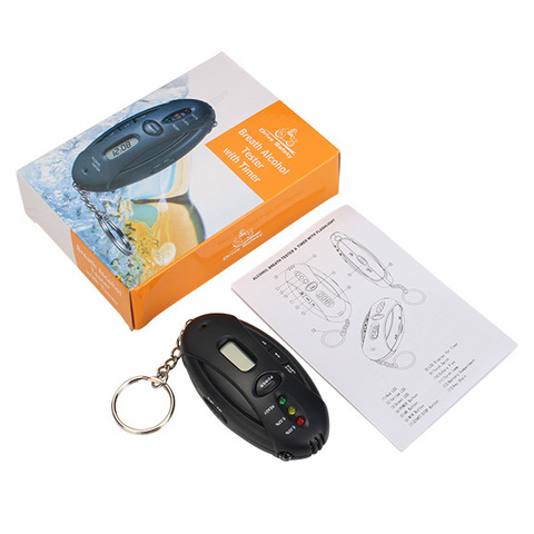 Алкотестер-брелок Alcohol Breath Tester and Timer with flashlight оптом