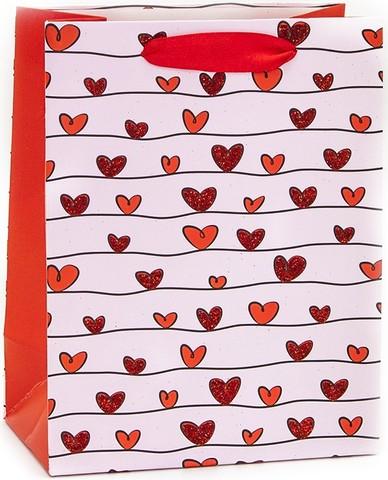 Пакет подарочный, Множество сердец, Красный, с блестками, 32*26*12 см