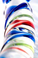 Стеклянный фаллос с различным рельефом - 18 см. -
