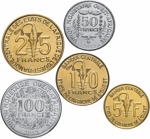 Набор из 5 монет Западная Африка. 2011-2013 гг. UNC