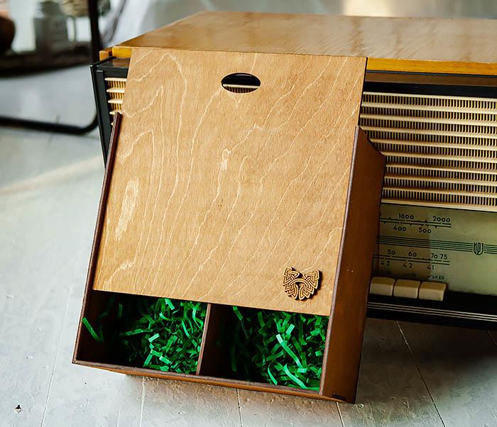 BOX235-2 Деревянная коробка для подарков с двумя отделениями (25*25*12 см)