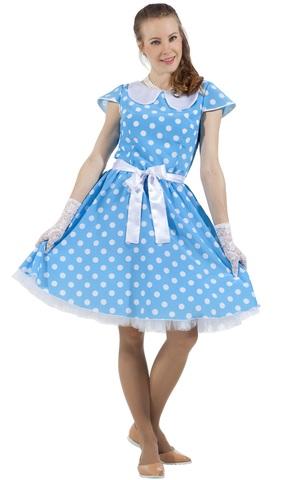 Платье Стиляга голубое в горох 1