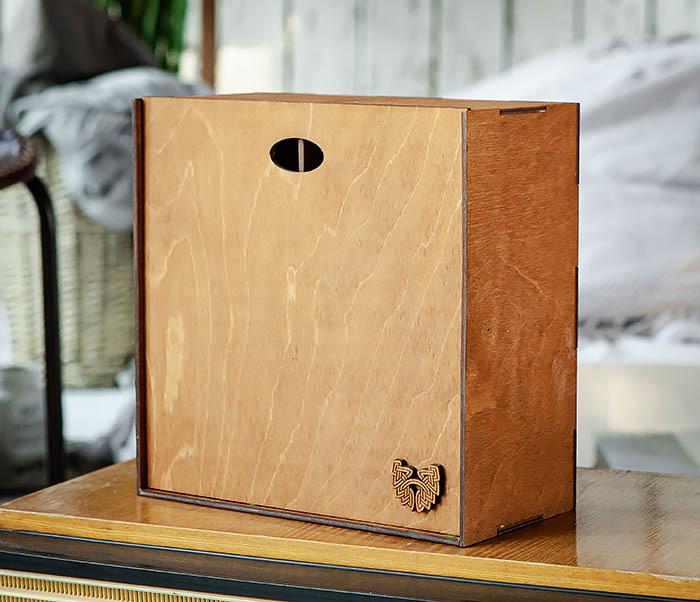 BOX235-2 Деревянная коробка для подарков с двумя отделениями (25*25*12 см) фото 02