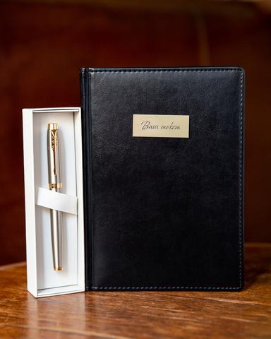 Подарочный набор с позолотой: Ежедневник недатированный и Ручка-роллер Parker IM  Metal GT