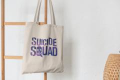 Сумка-шоппер с принтом Отряд самоубийц (Suicide Squad) бежевая 002