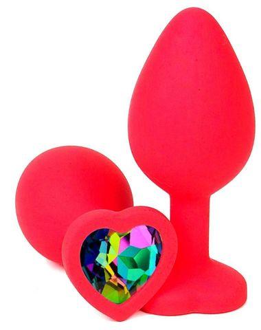 Красная силиконовая пробка с разноцветным кристаллом-сердечком - 8 см.
