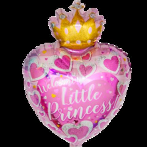 Сердце, С Днем Рождения, Маленькая Принцесса, Розовый, 19''/48 см, CTI, 1 шт.