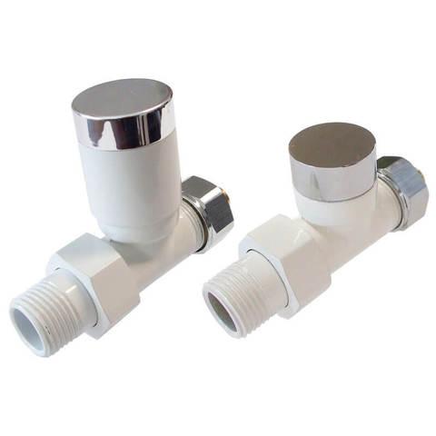 Комплект клапанов с ручной регулировкой Форма Прямая, Белый - Хром. Для пластика GZ 1/2 х 16х2