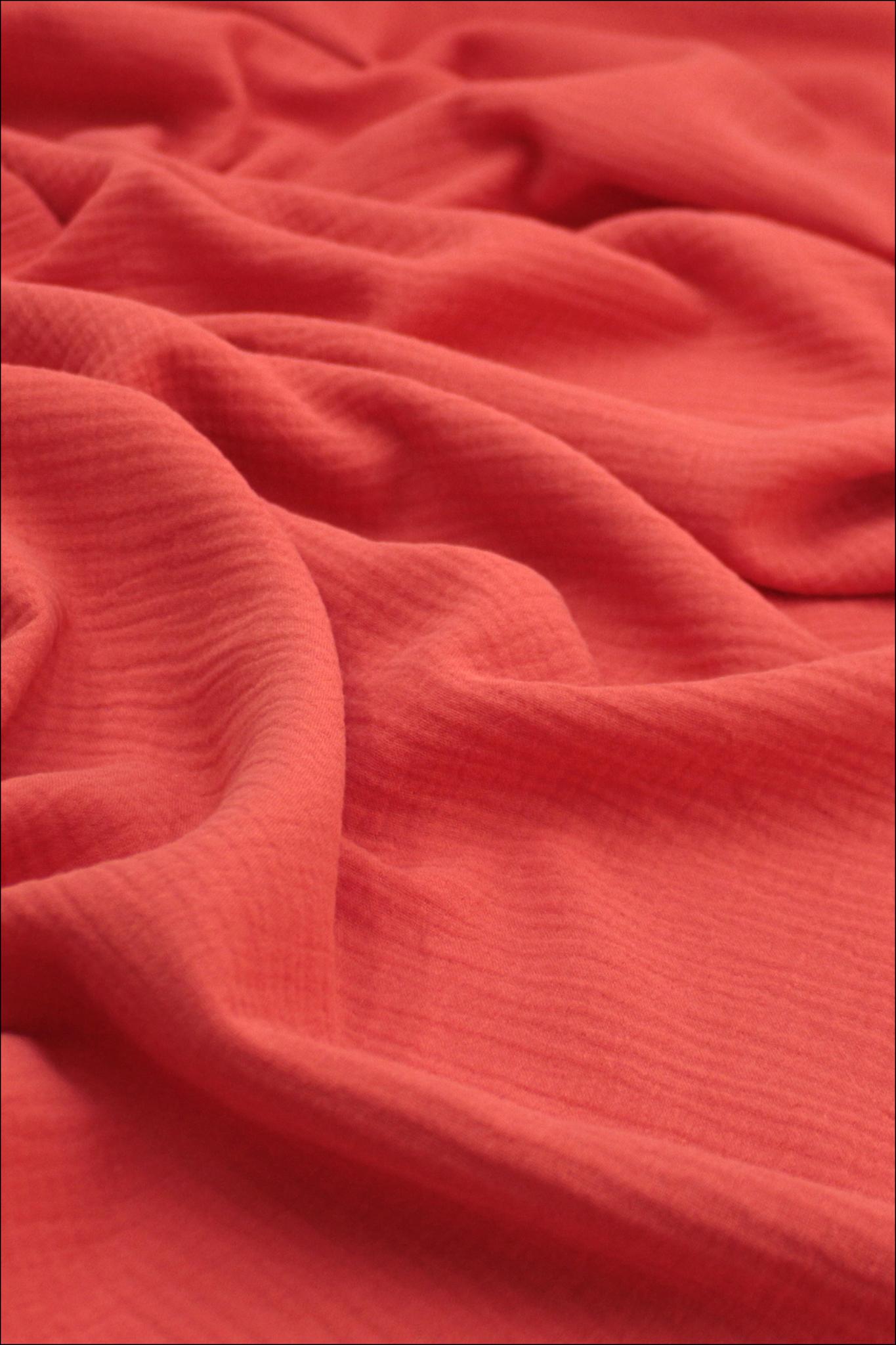 Ткань муслиновая, красный коралл