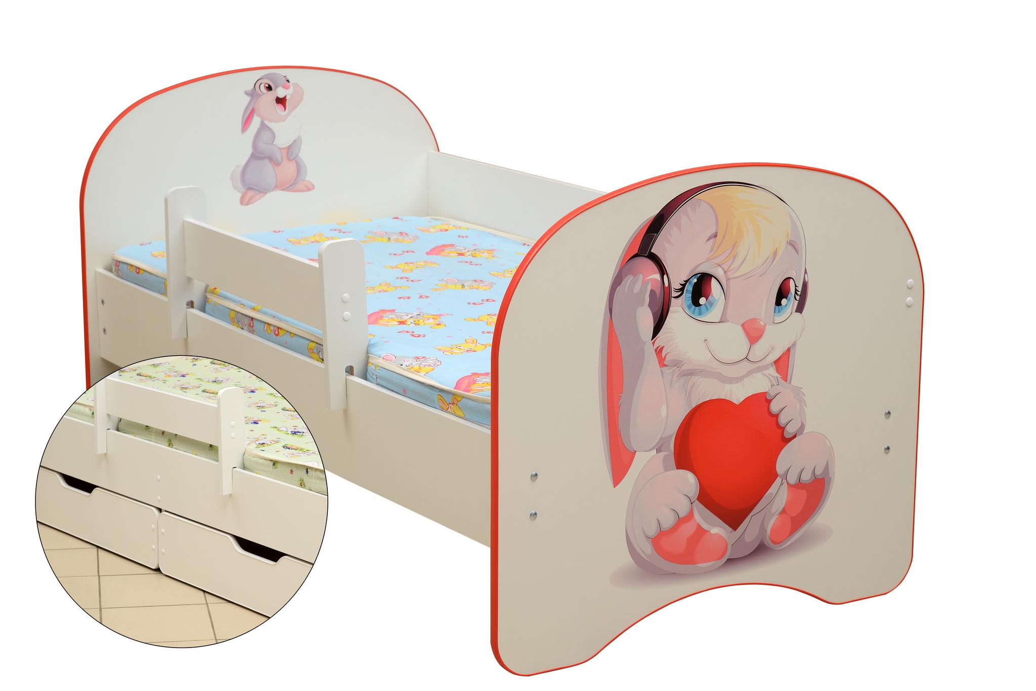 Кровать детская с фотопечатью Зайчата