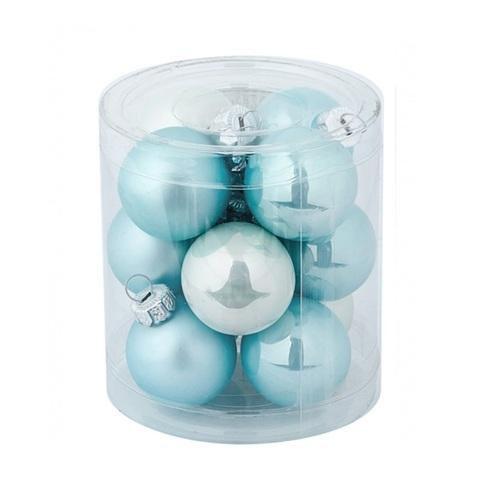 Набор шаров 12шт. (стекло), D4см,  цвет: голубой микс